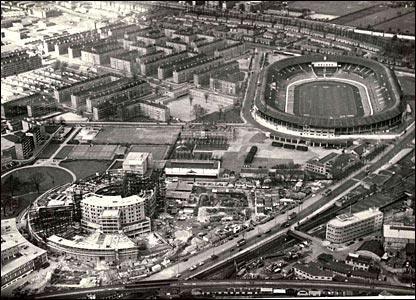 BBC Television Centre takes shape in the late 1950s with White City Stadium nearby