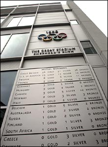 The memorial to the 1908 Olympics at the BBC Media Centre
