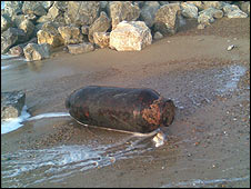 The bomb found on the coast in Felixstowe