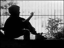A child in silhouette