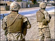 US marines on patrol in Iraq in a file photo from 2005