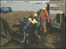 The 11th Century timbers being excavated