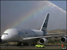 An Airbus A380 in Santiago
