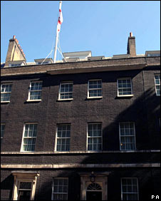 St George's flag over Downing Street