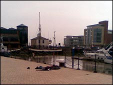 A pile of clothes at Hull Marina. Picture by Radio Humberside.