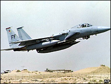 US F-15 fighter taking off in Saudi Arabia (1990)