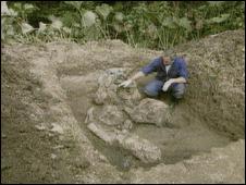 A mass grave at Jajce (screen grab, file image)