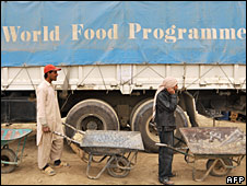 Afghan men line up to receive World Food Programme donations, 3 April 2008