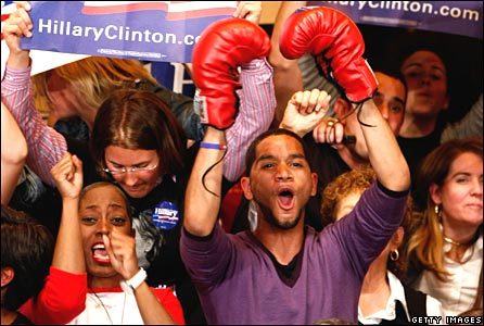 Clinton supporters cheer after news of her win comes through at a Philadelphia hotel on 22 April 2008