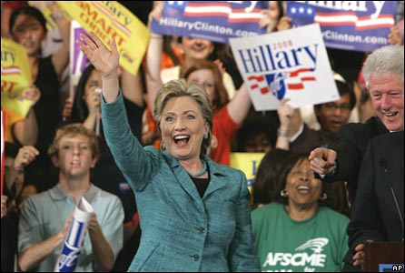 Hillary Clinton celebrates her primary win in Philadelphia on 22 April 2008