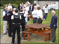 Police at the bowling green on Sunday, pic courtesy Bradley Stoke Journal