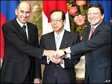 Prime Minister Janez Jansa of Slovenia, Japanese Prime Minister Yasuo Fukuda and the EU's  Jose Manuel Barroso