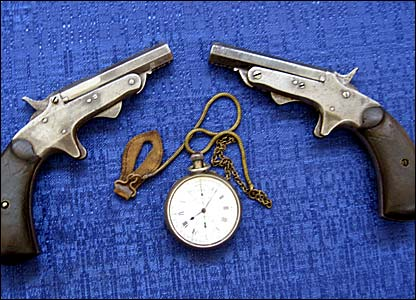 Starting pistols and stopwatch from the 1908 Olympic Games