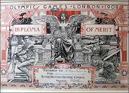 Diploma of merit awarded at the 1908 Olympic Games