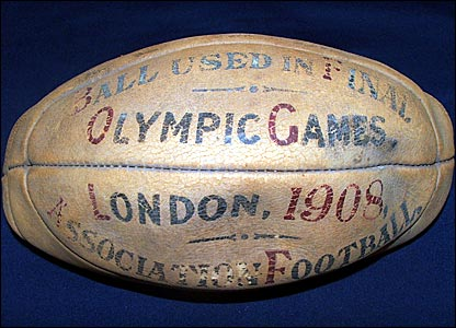 The football used in the final of the 1908 Olympic competition, which has deflated over the years