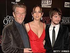 John Hurt with Leonor Watling and Elijah Wood at the premiere of The Oxford Murders