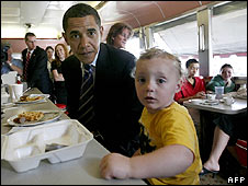 Barack Obama in a Pennsylvania diner 22 April