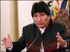 Bolivian president Evo Morales (file picture March 08)