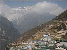 Village of Namche Bazaar in Nepal