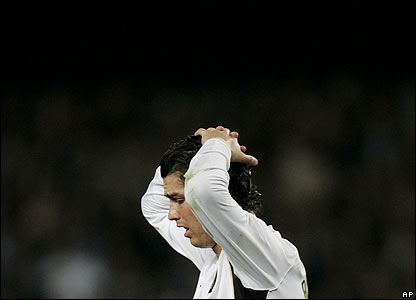 Ronaldo shows his frustration after missing from the penalty spot