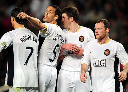 United captain Rio Ferdinand orchestrates his team's defence