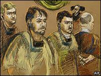 Versión de un artista de los acusados, de izq. a der.: Moisés Maionica, Franklin Durán, Carlos Kaufmann y Rodolfo Wanseele