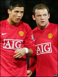 Cristiano Ronaldo (left) and Wayne Rooney