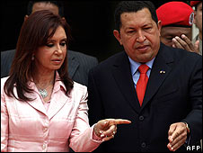 President Fernandez of Argentina and Venezuelan President Hugo Chavez, March 2008