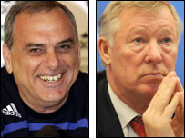 Avram Grant (left) and Sir Alex Ferguson