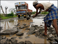 A poorly maintained road in India