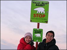 Irene and Kian at the Arctic Circle