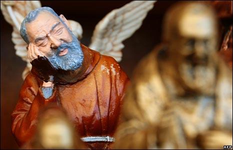 A statue of Padre Pio in San Giovanni Rotondo in southern Italy