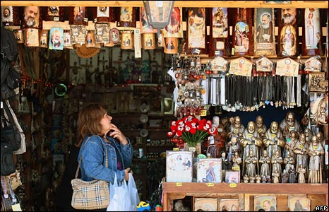 A shop with religious gifts in San Giovanni Rotondo in southern Italy