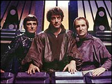 Paul Darrow, Gareth Thomas and Michael Keating in Blake's 7