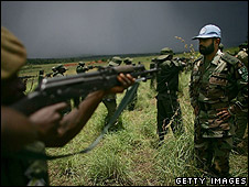 Pakistani peacekeepers training  government army troops 2007