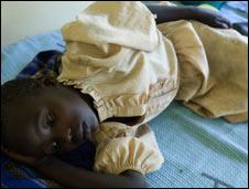 Ruth Nyasei suffering from malaria in Kenya's Nyanza province