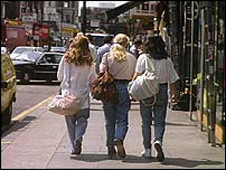 Girls walking down the street