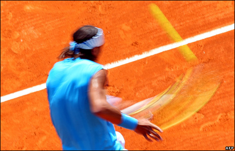 Spain's Rafael Nadal hits a return at the Monte Carlo ATP Masters Series tennis tournament in Monaco