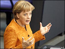 German Chancellor Angela Merkel addressing the Bundestag (24 April 2008)