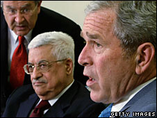 Mahmoud Abbas and George Bush at the White House, 24 April 2008