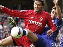 Fiorentina's Giampaolo Pazzini and Rangers' Carlos Cuellar