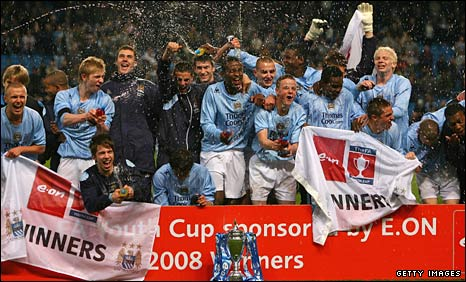 Manchester City's players celebrate their Youth Cup final triumph