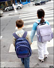 Children crossing the road