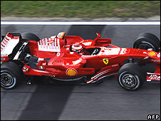 Kimi Raikkonen's Ferrari in Friday practice  at the Montmelo race track near Barcelona