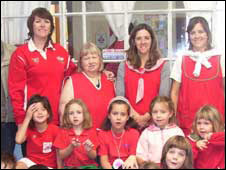 Pupils and staff at Ysgol yr Hendre, Trelew's recently-established Welsh-medium school.