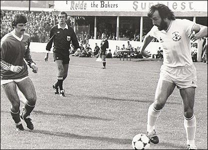 Felix Healy of Coleraine in action against Ricky Villa when Tottenham Hotspur