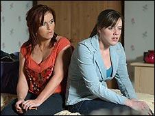 Michelle Ryan with Jessie Wallace (l) in EastEnders