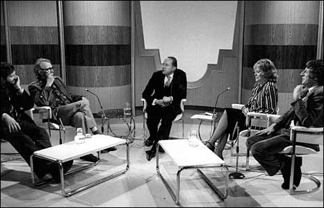 Humphrey Lyttelton (second left) on BBC Two's Who Said That? in 1976