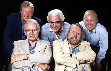 Tim Brooke Taylor, Humphrey Lyttelton, Barry Cryer, Willie Rushton and Graeme Garden in 1994