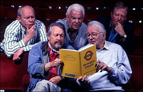 Graeme Garden, Willie Rushton, Barry Cryer, Humphrey Lyttelton and Tim Brooke-Taylor in 1996